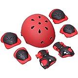 WINOMO ヘルメット キッズプロテクター 膝/肘/手首 WINOMO スポーツプロテクター 保護パッド 7点セット 子供用 スケートボードスケート 自転車アクセサリー ヘルメット 軽量 7個セット(レッド S)