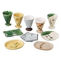 ミニョーキカップとプレートのセットには、5つのカップと5枚のプレートがそれぞれユニークな色と伝統的なデザインで、日本製。