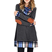 CNJFJ Womens Casual Tunic Dress Cowl Neck Plaid Elbow Patch Long Sleeve Fall Top