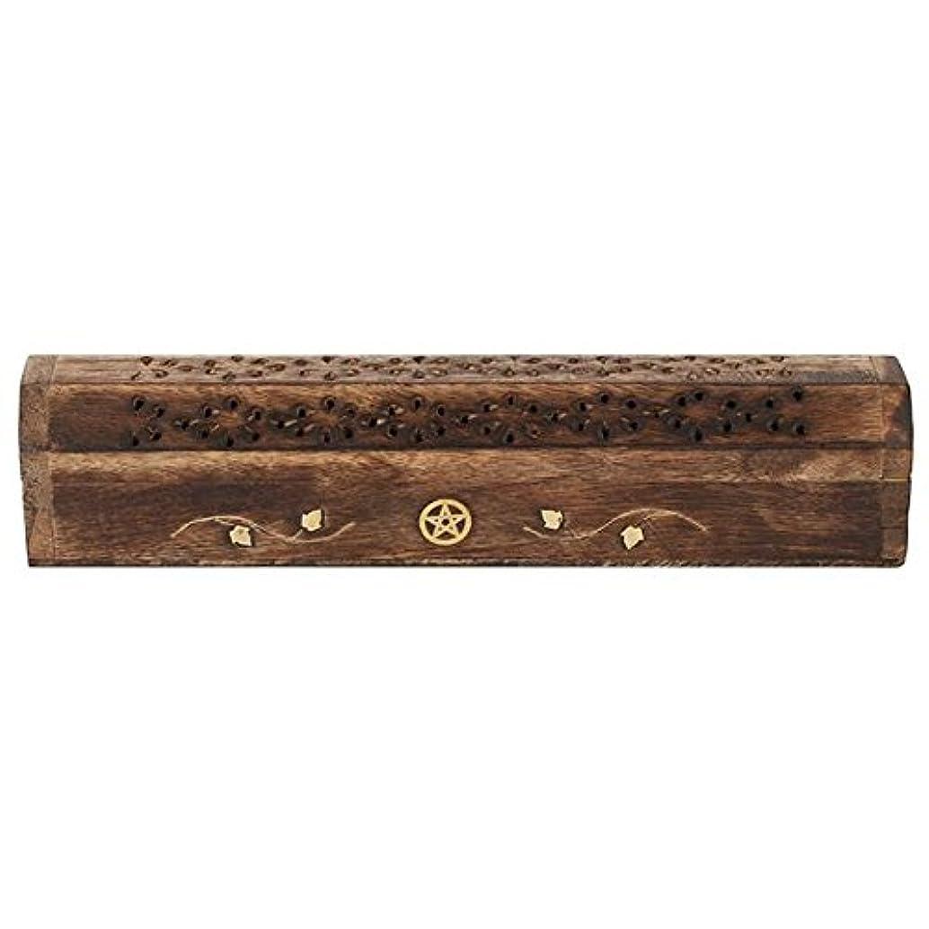 昆虫苦しみMangowood Incense Box with Brass Pentagram Inlay