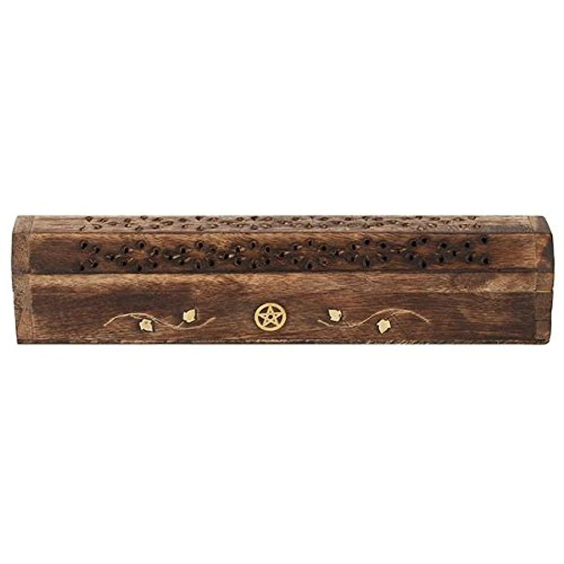ライター混雑ベーコンMangowood Incense Box with Brass Pentagram Inlay