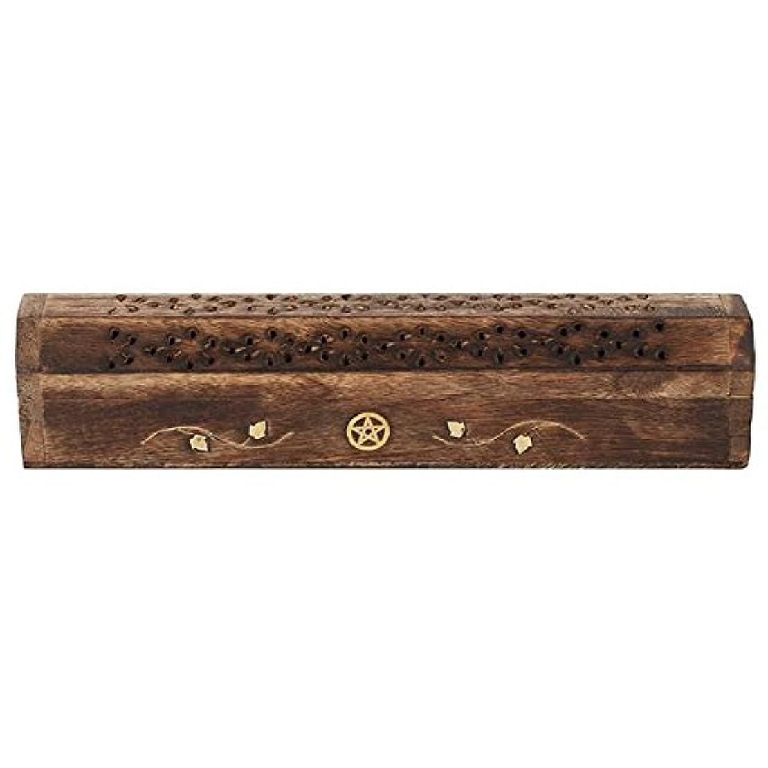 概して破壊的な故国Mangowood Incense Box with Brass Pentagram Inlay