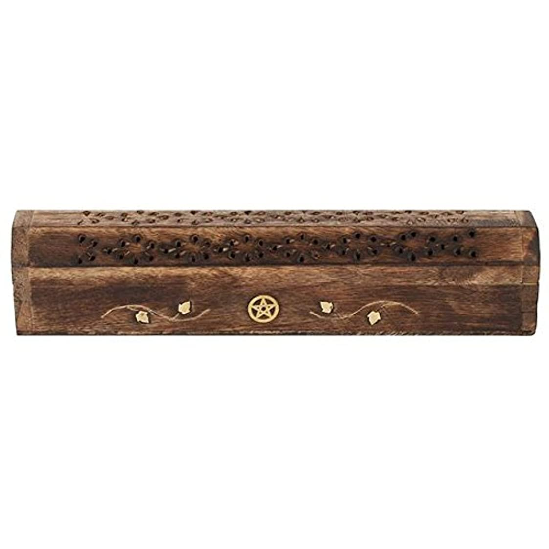 脆い著名な鷹Mangowood Incense Box with Brass Pentagram Inlay