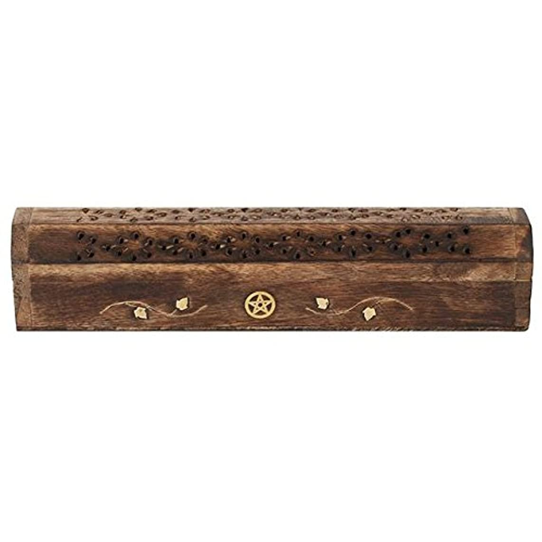 認可苗舗装するMangowood Incense Box with Brass Pentagram Inlay