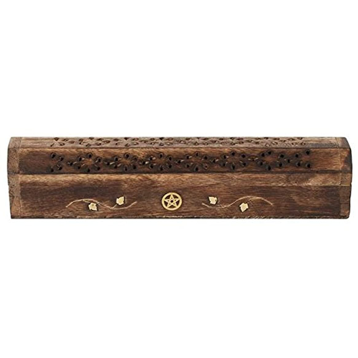 Mangowood Incense Box with Brass Pentagram Inlay
