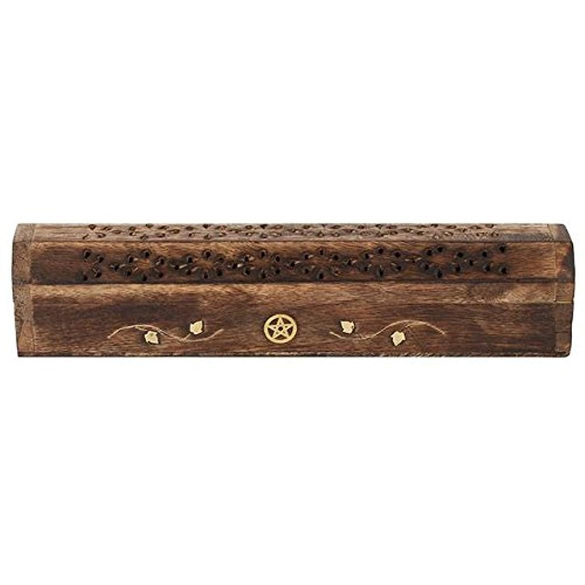 レンド銀フィッティングMangowood Incense Box with Brass Pentagram Inlay