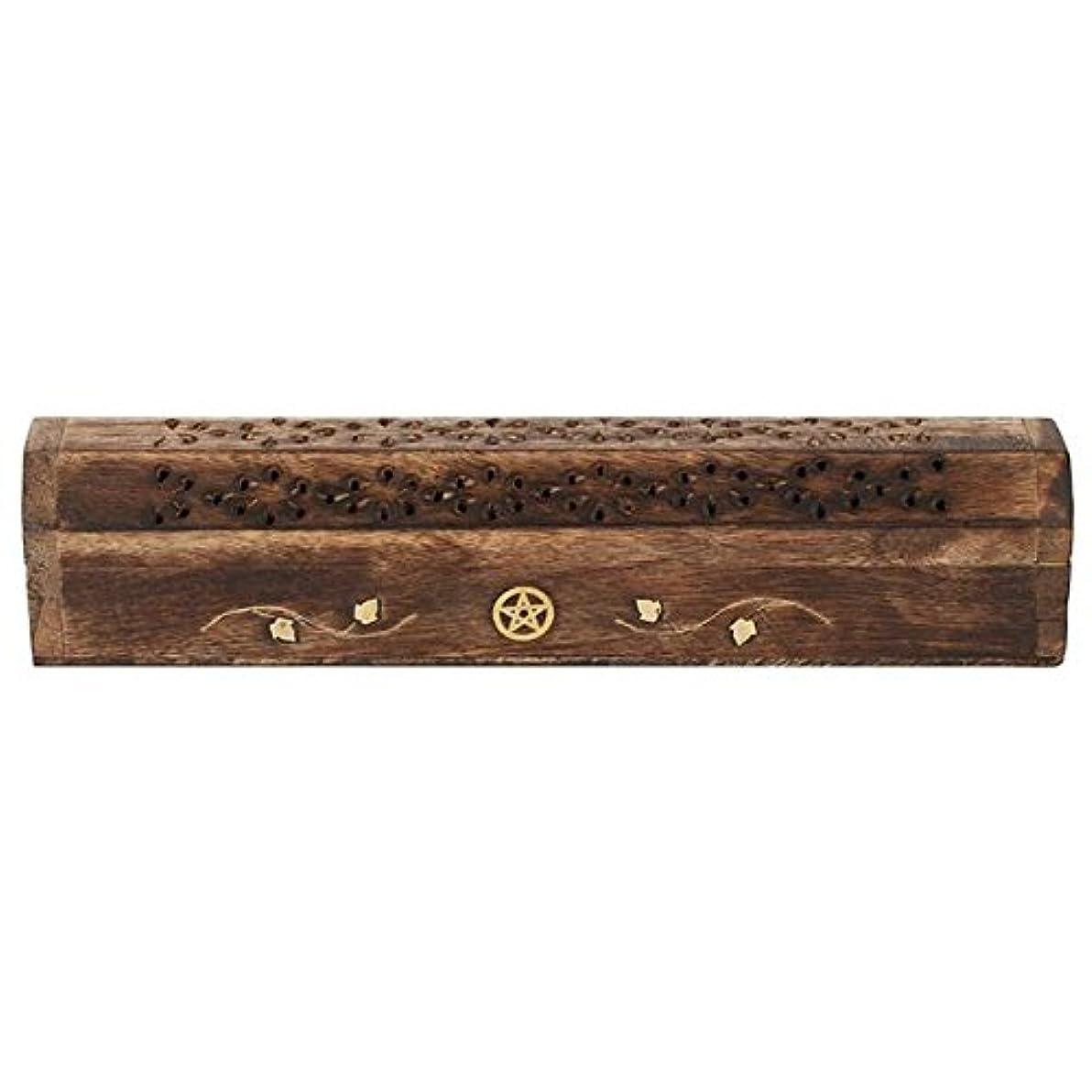報いる鑑定クリップMangowood Incense Box with Brass Pentagram Inlay