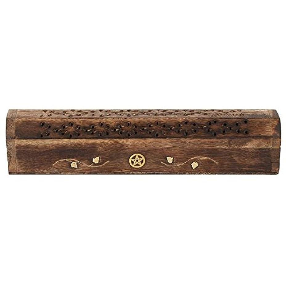 検査官サスペンション不機嫌そうなMangowood Incense Box with Brass Pentagram Inlay