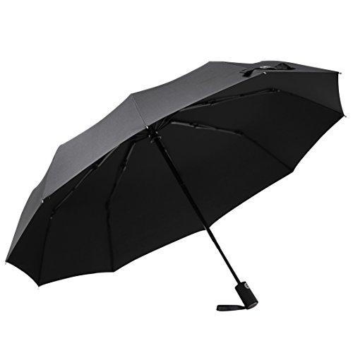 TISHOW折り畳み傘 傘 日傘 ワンタッチ自動開閉 晴雨兼用傘 高強度グラスファイバー 10本骨 耐風撥水 丈夫 超吸水マイクロファイバー カバー付(ブラック)