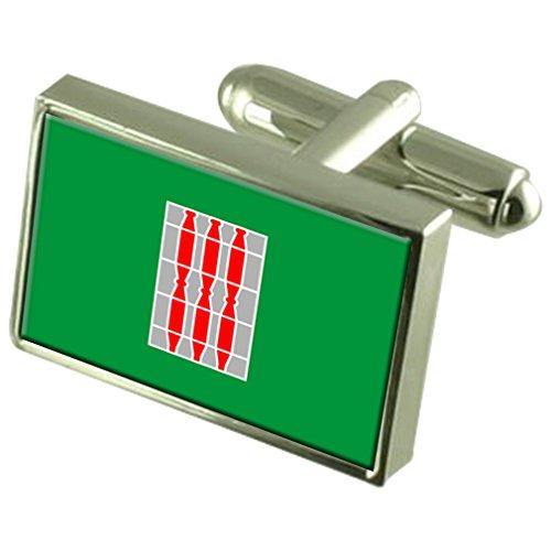 ウンブリア地方イタリアの国旗カフスボタン刻まれたボックス