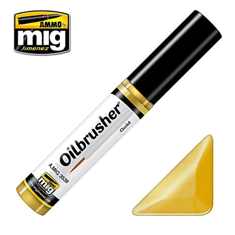 AmmoのMig oilbrusherゴールド – Oilペイントwith Fineブラシ付きアプリケーター# 3539