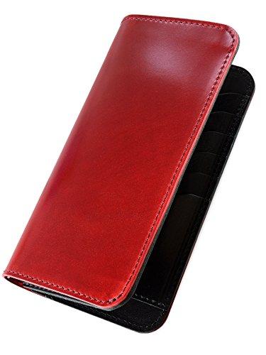 [タバラット] 日本製 長財布 新喜皮革社製コードバン かぶせ蓋 メンズ (レッド) Tps-004_rd