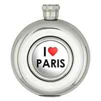 私は心を愛してパリ円形ステンレス鋼の5オンスのヒップフラスコ