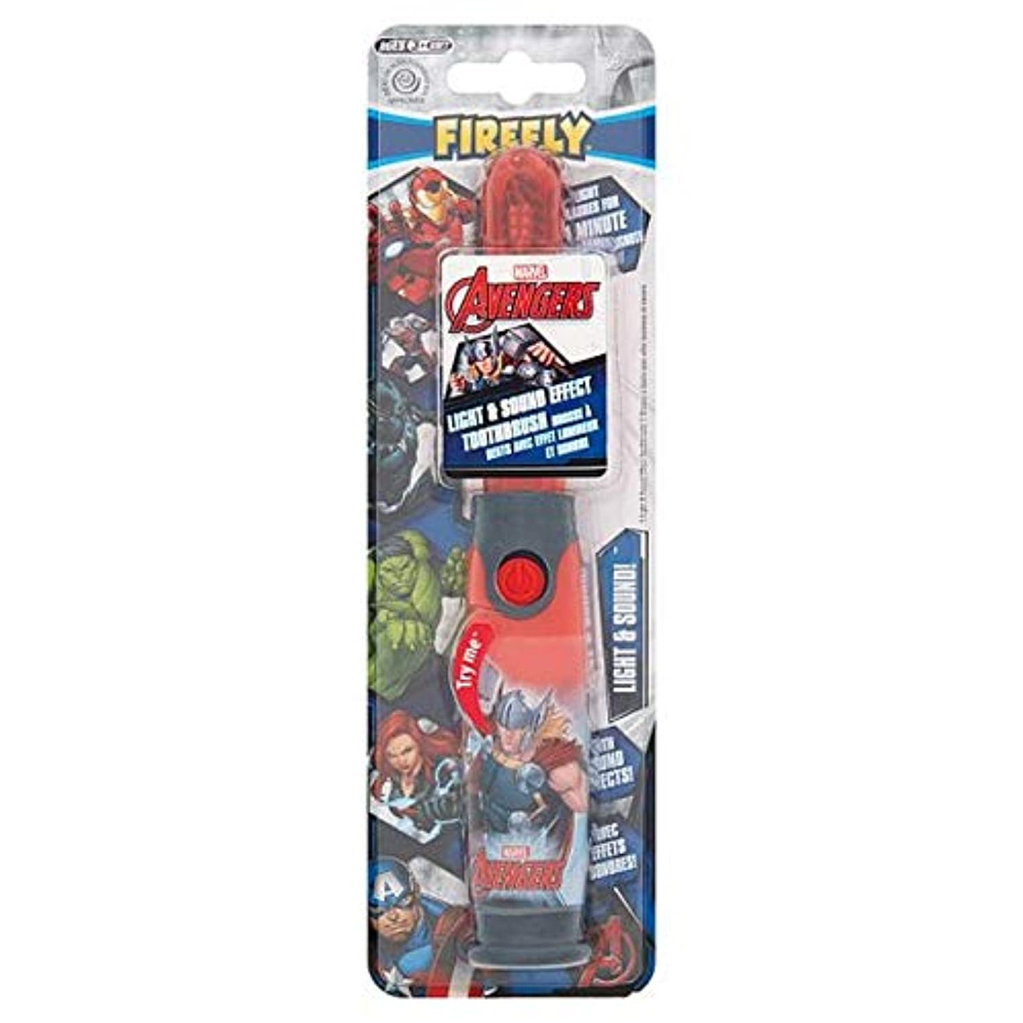 研究所明快呼吸[Firefly ] アベンジャーズホタルの光と音の歯ブラシ - Avengers Firefly Light And Sound Toothbrush [並行輸入品]
