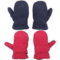 Flammi 2 Pairs Little Kids Sherpa Lined Fleece Mittens Easy On Winter Warm Gloves for Boys Girls