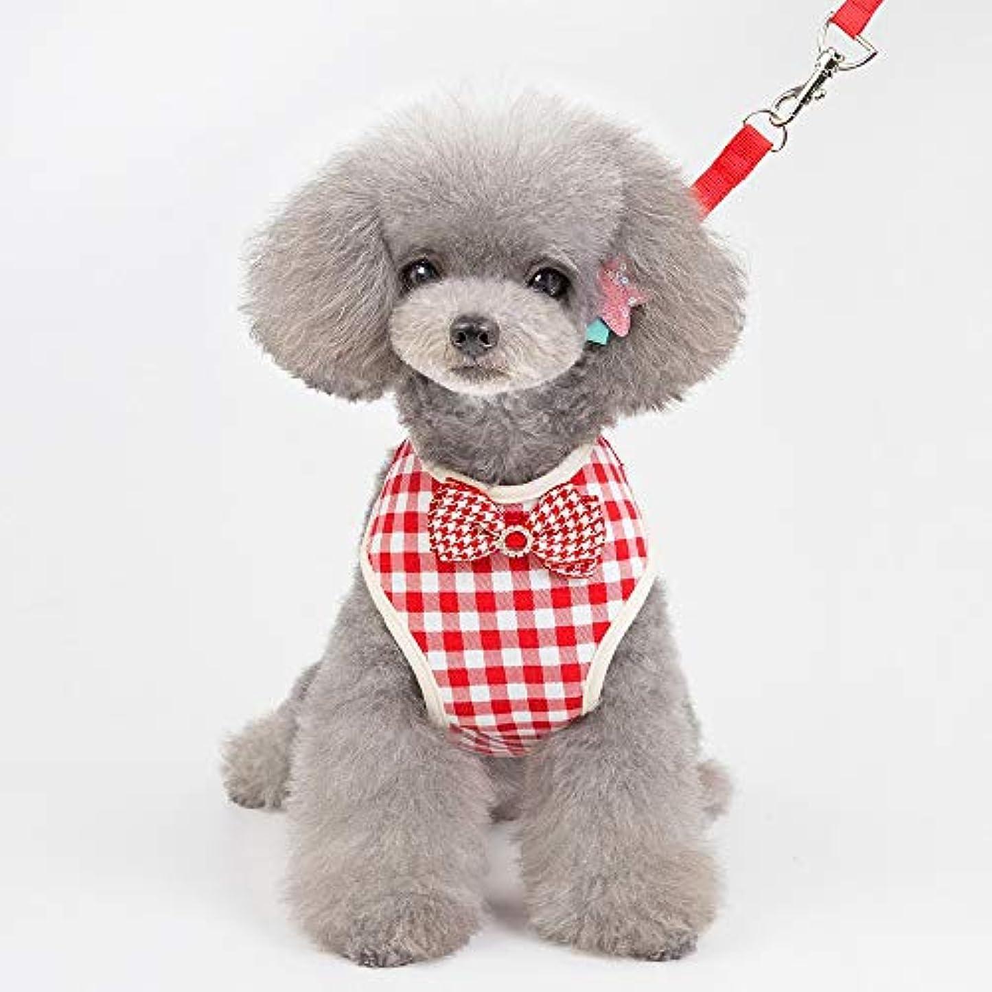 シリング亜熱帯ペイントVIOAPLEM ペットの犬ハーネスリーシュペットハーネス機能的カジュアル春と夏のハーネス大きな格子 (Color : Red, Size : L)