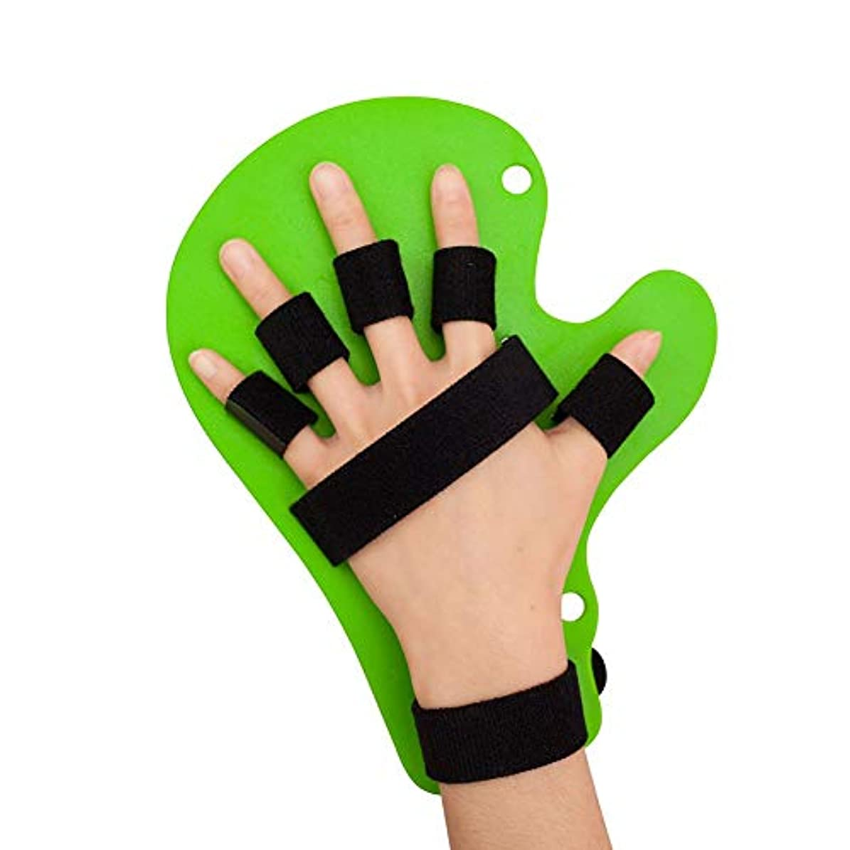 ガラガラ楽しむ粘り強いスプリント指指セパレーター、指スプリント指、指スタビライザーリストストラップ脳卒中片麻痺指のトレーニング機器を指 (Color : 緑)