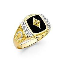 Jewels By Lux メンズ 14Kイエローゴールド模擬オニキスファッション周年記念リングサイズ イエローゴールド 12