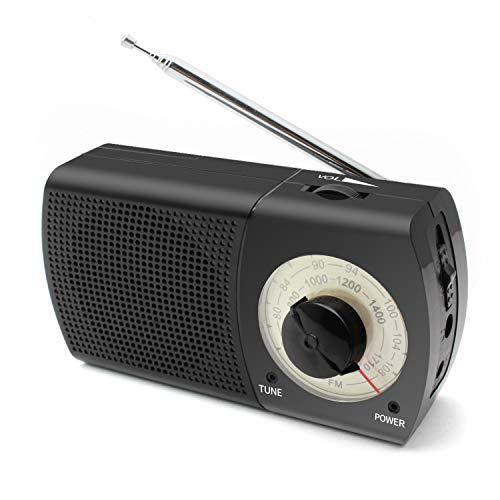 ポータブルラジオ FM/AM対応 小型 モノラル 簡単な使用 携帯ラジオ 高感度ラジオ 木目調 保証付き (R907-黒)