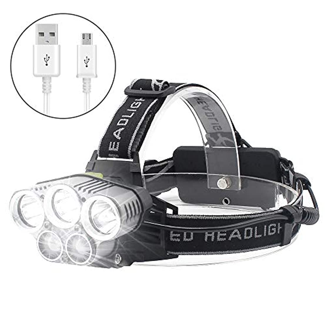 スリップシューズ閉じる不均一ヘッドライト USB充電式 LEDヘッドランプ 超高輝度 8000ルーメン 防水 6点灯モード 18650バッテリー付属 SOSフラッシュ機能 アウトドア照明 登山 夜釣り 夜間作業