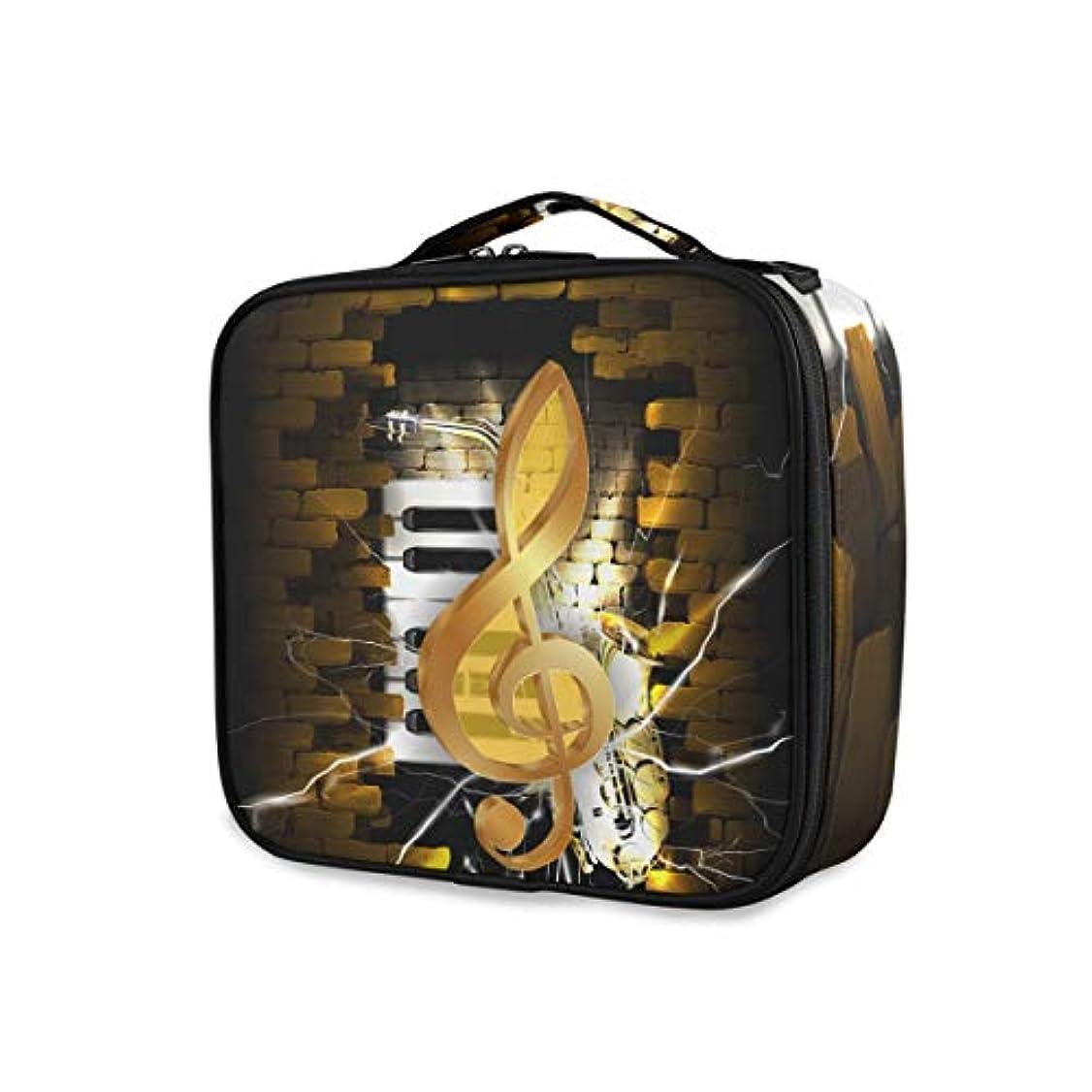 ケニア同級生イースターKAPANOU プロ用 メイクボックス レンガの壁とサックスのピアノのキーの背景に金色のト音記号 多機能 高品質 美容師 マニキュリスト 刺青師 専用 化粧ボックス メイクアップアーティスト 収納ケース メイクブラシ 化粧道具 大容量
