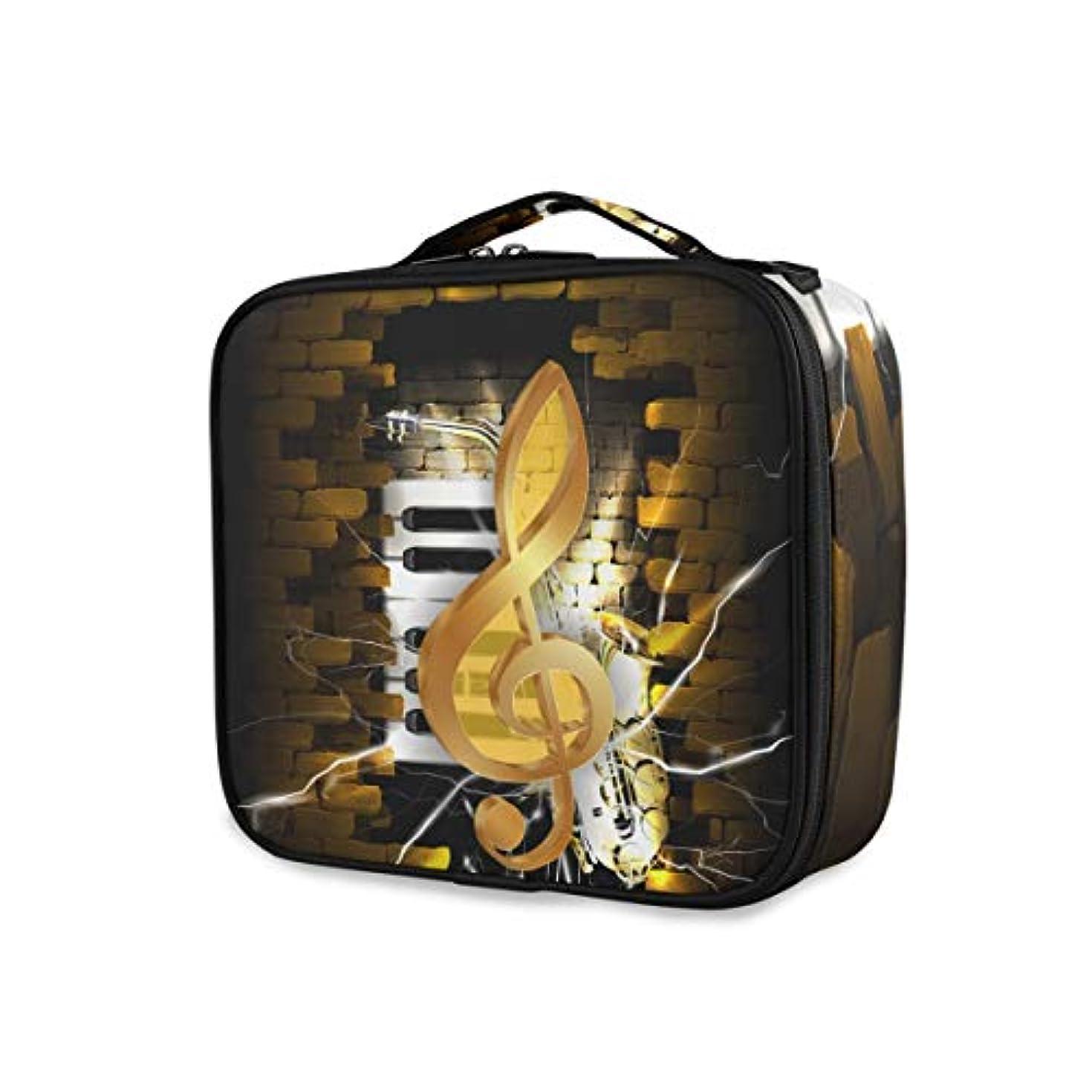 打倒タービンラブKAPANOU プロ用 メイクボックス レンガの壁とサックスのピアノのキーの背景に金色のト音記号 多機能 高品質 美容師 マニキュリスト 刺青師 専用 化粧ボックス メイクアップアーティスト 収納ケース メイクブラシ 化粧道具...
