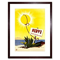 Travel Nervi Italy Sunshine Beach Sea Ocean Rope Sign Framed Wall Art Print 旅行イタリアビーチ海洋壁