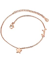 Ankle Bracelets for Lady Lucky Star Beach Anklets Foot Jewelry Rose Gold Aooaz