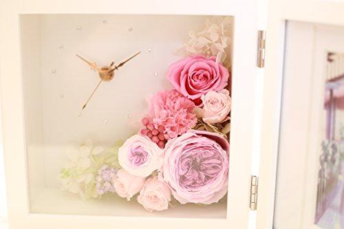 Azurosa(アズローザ) フォトフレーム プリザーブドフラワー 時計 ギフト グラデーションオールドローズ アジサイ グラデーションカーネーション ピンク