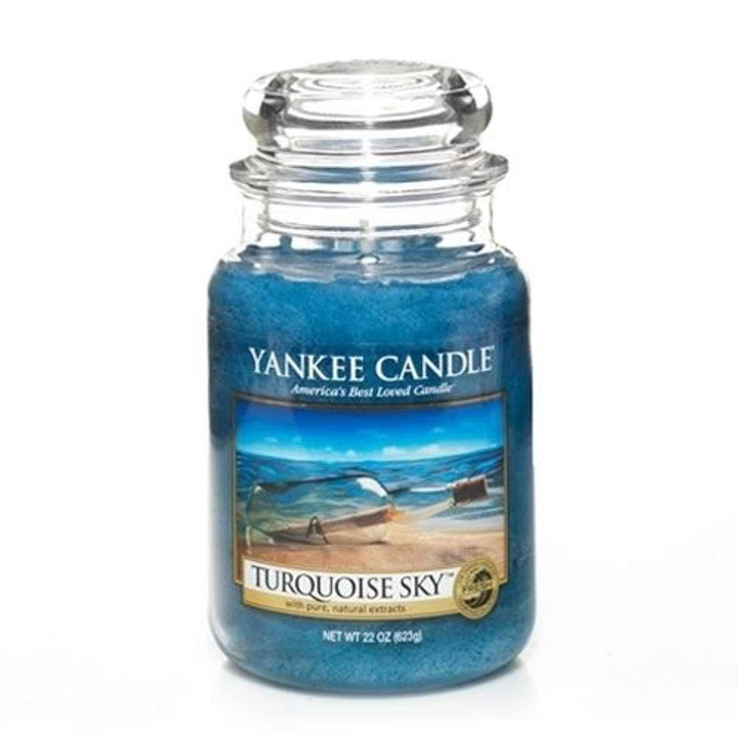 乙女衛星夜YankeeキャンドルターコイズSky Large Jar Candle、新鮮な香り
