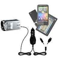 ダブルポートMicro Gomadic車/自動DC充電器Suitable for the Sanyoビデオカメラvpc-th1–Charges upと同時に2デバイスをGomadicテクノロジー