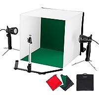 CRAPHY 撮影ボックス 簡易スタジオ 折りたたみ 小物、ビデオ、ポートレートとプロダクト写真用 5 X 背景布(緑、黒、青、白、赤)、2 X 50W LEDライト付き