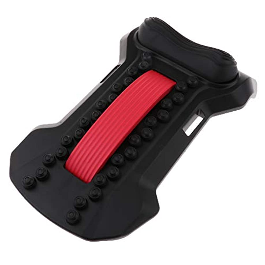 アコー送信する改善するバックストレッチャー 腰椎 頸椎 ストレッチ マッサージャー ツボ押し 猫背 姿勢 矯正 全5色 - 黒赤, 22×37×8cm
