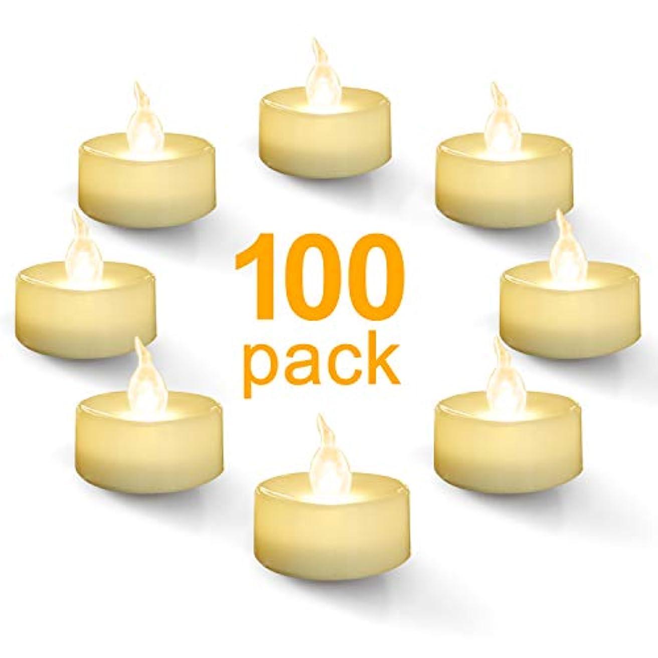 ペッカディロ隙間与えるHomemory 100個パック 電池式 ティーライト キャンドル 温白色 LEDフレームレス ちらつきティーライト バルク
