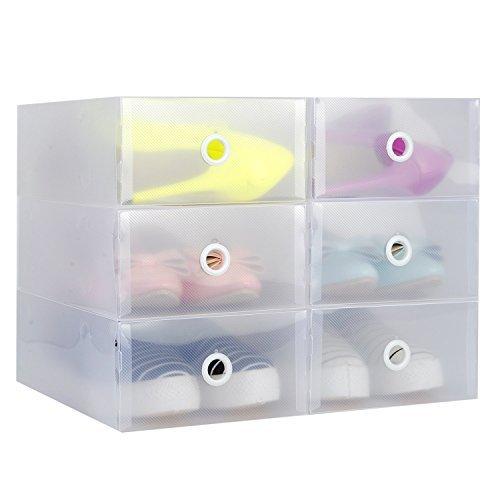 【6箱入り】快適家 シューズボックス 引き出し式 透明 シューズケース 組立て式 靴収納 靴箱