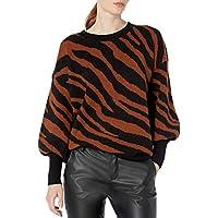 French Connection Women's Crew Neck Sweater, Black/Casablanca