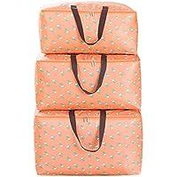 ラージ3PCS収納バッグオレンジパターンポータブル折り畳み式オックスフォードクロストラベルオーガナイザー防水性防湿キルト収納衣類仕上げ荷物収納バッグ3個セット