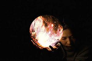 Ticent 月のランプ ベッドサイドランプ 3Dプリント 間接照明 プレゼント USB充電 無段階調光 直経15cm (夜の空, 3色切替 タッチ式)
