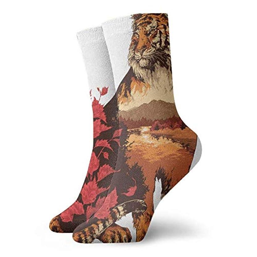 怠けた光沢通常Qririyノベルティデザインクルーソックス、野生生物トラと赤の葉、クリスマス休暇クレイジー楽しいカラフルな派手な靴下、冬暖かいストレッチクルーソックス