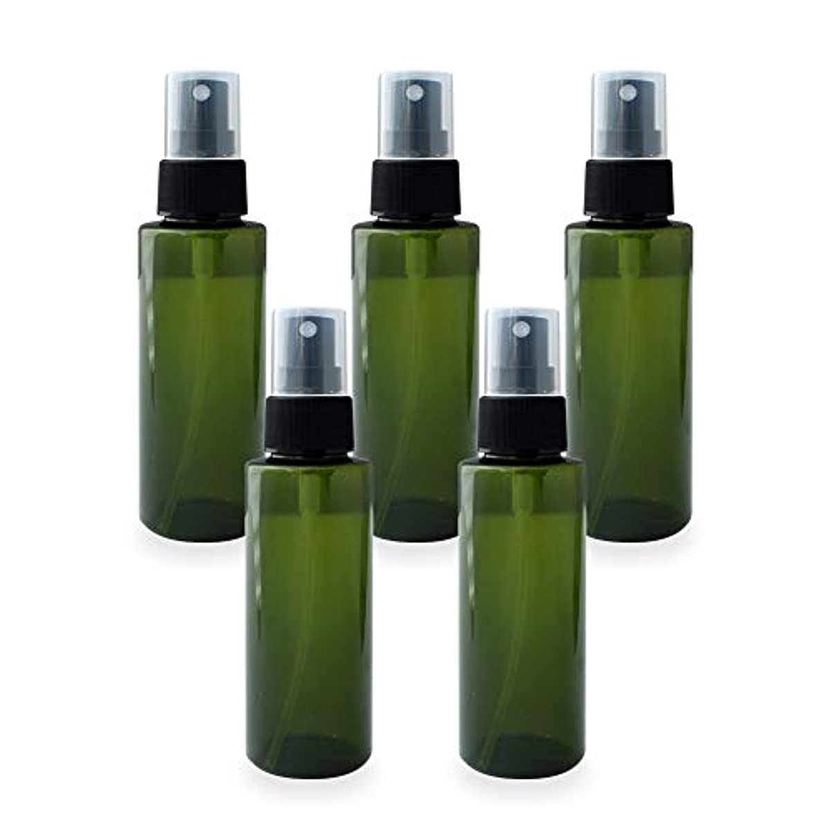 スプレーボトル100ml×5本セット(グリーン)(プラスチック容器 オイル用空瓶 プラスチック製-PET 空ボトル アロマスプレー)