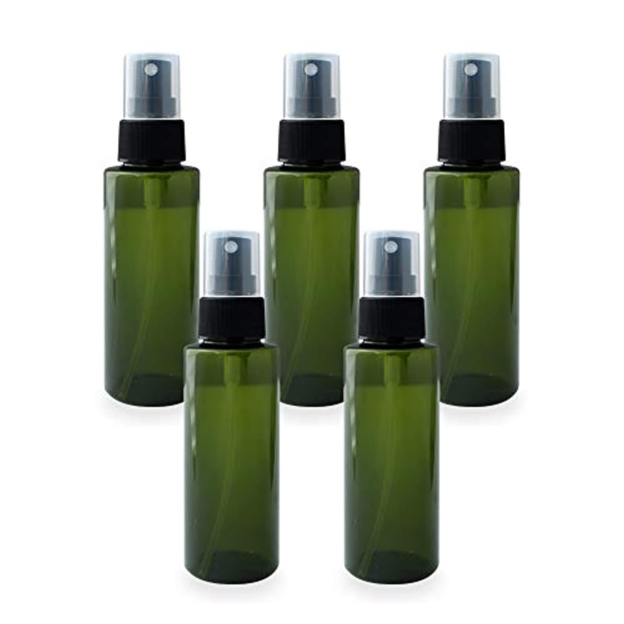 解放自分を引き上げるモノグラフスプレーボトル100ml×5本セット(グリーン)(プラスチック容器 オイル用空瓶 プラスチック製-PET 空ボトル アロマスプレー)