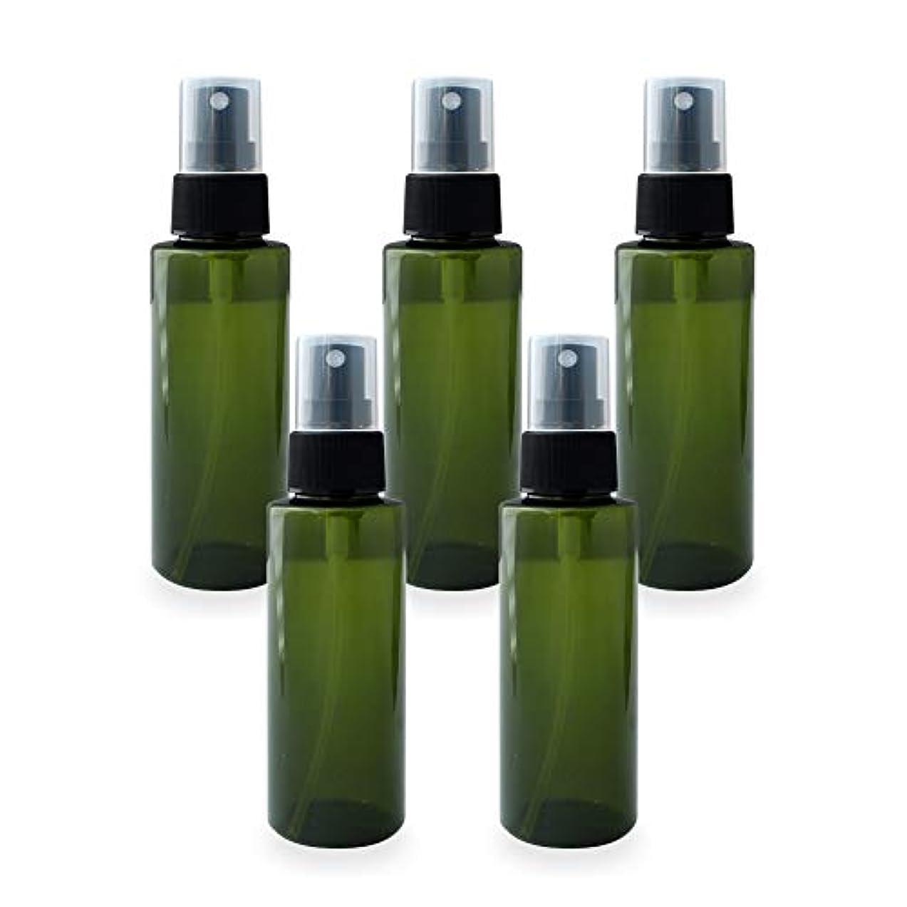 制限忠実にどう?スプレーボトル100ml×5本セット(グリーン)(プラスチック容器 オイル用空瓶 プラスチック製-PET 空ボトル アロマスプレー)