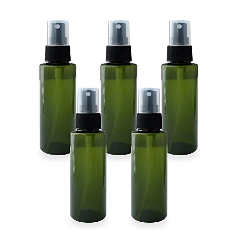 可聴鷹アセンブリスプレーボトル100ml×5本セット(グリーン)(プラスチック容器 オイル用空瓶 プラスチック製-PET 空ボトル アロマスプレー)