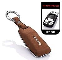 スエード毛皮亜鉛合金車の自動車キーカバーアウディ C6 A7 A8 R8 A1 A3 A4 A5 Q7 a6 C5 車スタイリング耐久性 Accessorie キーホルダー-B-brown