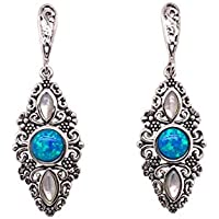 Bevilles Sterling Silver Synthetic Blue Opal and Mother of Pearl Filigree Drop Earrings