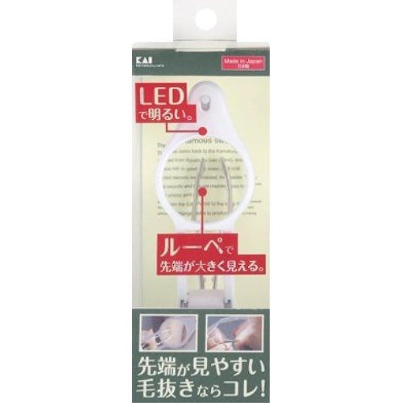 余分な小道具弁護貝印 LEDルーペ付き毛抜き KQ0330