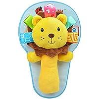 ベビーおもちゃ スティックガラガラ 可愛い 柔らかい 動物おもちゃ 智力開発 出産祝い ベビープレゼント ライオン