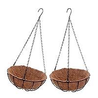 フラワースタンド 2点セット 吊り下げ式 ココナッツ バスケット 全2サイズ 収納ラック 金属チェーン 取り外し可能 - 約31x15x53cm