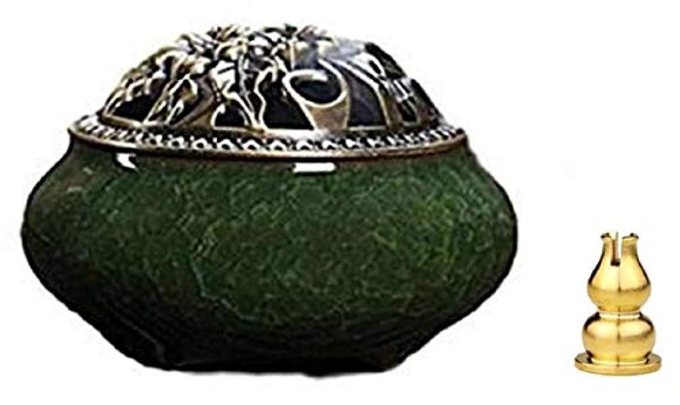 ピーブ粘性のピニオン陶磁器 香炉 青磁 丸香炉 お香立て 渦巻き線香 アロマ などに 香立て付き (緑色)