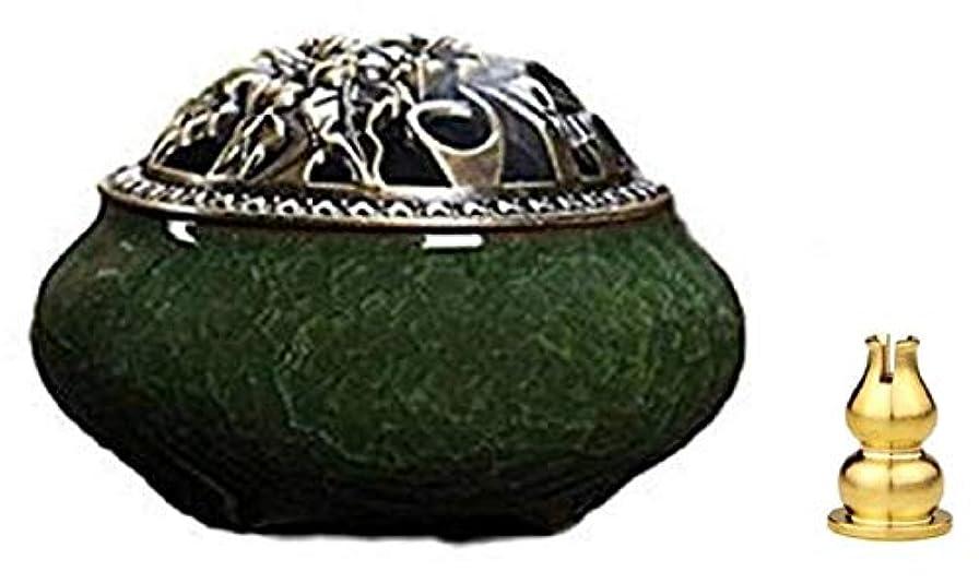 つかの間管理パンダ陶磁器 香炉 青磁 丸香炉 お香立て 渦巻き線香 アロマ などに 香立て付き (緑色)